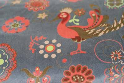European Peacock Bird Velvet Fabric Cotton-european, peacock, bird, velvet, cotton, fabric, flowers, grey, orange, green, import