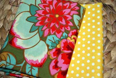 Forest Blooms & Yellow Dots FQ Bundle-kaffe fassett, flowers, dots, green, pink, yellow, polkadots, rowan, westminster