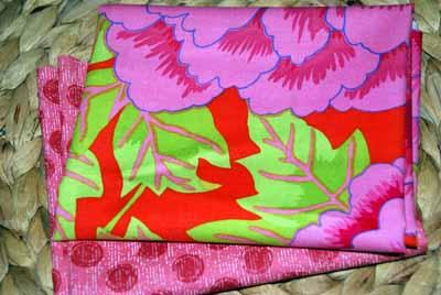Kaffe Fasset Pink Flowers Dots Fabric FQ Bundle-kaffe fasset, pink, flowers, bundle, red, orange, green, dots, westminster, rowan