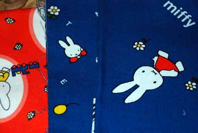 Miffy & Friends European Japanese Cotton Canvas FQ Bundle-Miffy, fabric, blue, orange, yellow, bunnies, trees, kids, children, cotton, japanese, european, dut
