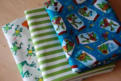 Frogs, Bugs & Stripes FQ Bundle...for the Boys!-frogs, bugs, stripes, free spirit fabrics, green, blue, red, white, cotton, fabric, fq