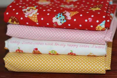Japanese Fabric FQ Mixer 2-japanese, import, cotton, fabric, dots, icecream, cupcakes, sweets, dots, polkadots, yellow, red, pi