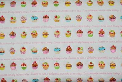 Japanese Sweet Cupcakes Cotton Kawaii Fabric-japanese, import, cotton, fabric, cupcakes, sweets, white, pink, girls, clothing, sewing, quilting,