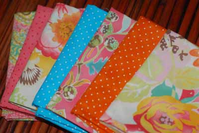 Sultry Flowers and Dots FQ Bundle 2-sultry, moda, fabric, cotton, basic grey, dots, pink, orange, blue, fq, bundle