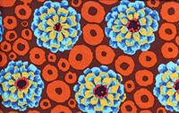 Kaffe Fassett Bubble Flowers Teal Cotton Fabric GP97Teal-cotton, fabric, kaffe, fassett, bubble, flowers, dots, teal, brown, contemporary, westminster, fiber