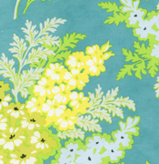 Heather Bailey Nicey Jane Picnic Bouquet Lagoon Cotton Fabric-cotton, fabric, heather bailey, nicey, jane, picnic, bouquet, lagoon, blue, floral, retro, vintage,