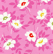 Heather Baily Nicey Jane Swing Toss PInk Cotton Fabric-nicey jane, heather bailey, cotton, fabric, pink, flowers, free spirit fabrics