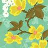 Joel Dewberry Modern Meadow Dogwood Blossoms Sunglow-sunglow, aqua, blue, gold, modern, meadow, cotton, fabric, flowers, dogwood, blossoms, quilting, sew