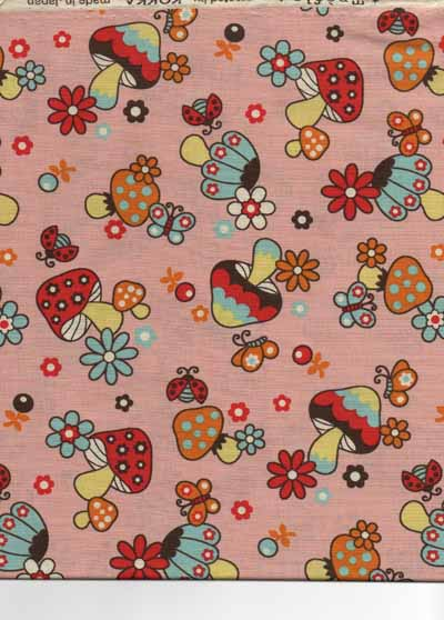 Japanese Mushrooms Cotton Fabric-kawaii, japanese, mushroom, fabric, cotton, import, retro, mod