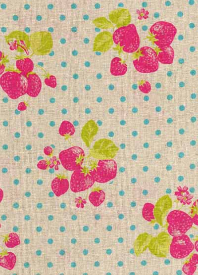 Pink and Blue Strawberries & Dots Linen/Cotton Blend Japanese Fabric-japanese, import, strawberries, dots, blue, pink, linen, cotton, kawaii, kokka