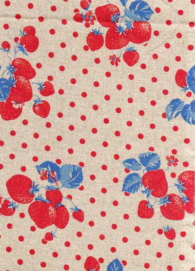 Red and Blue Strawberries and Dots Linen/Cotton Blend Japanese Fabric-linen, cotton, japanese, import, strawberry, red, blue, beige, fabric, kawaii, kokka