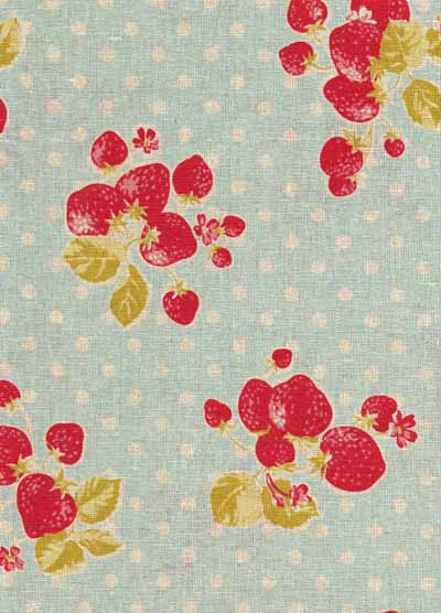 Blue and Red Strawberries and Dots Linen/Cotton Blend Japanese Fabric-linen, cotton, japanese, import, strawberry, red, blue, beige, fabric, kawaii, kokka