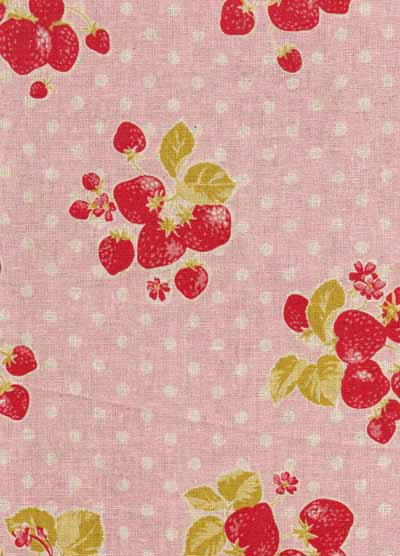 Pink and Red Strawberries and Dots Linen/Cotton Blend Japanese Fabric-linen, cotton, japanese, import, strawberry, pink, red, fabric, kawaii, kokka