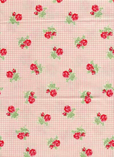 Moda Urban Chiks Sweet Red Pink Rose Check Cotton Fabric-