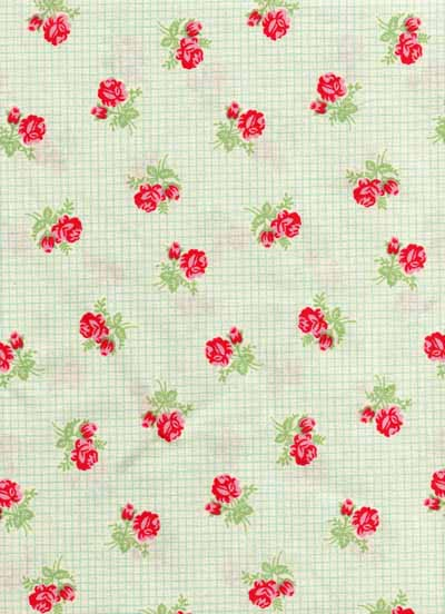 Moda Urban Chiks Sweet Green Rose Stripe Cotton Fabric-moda, sweet, urban chics, green, white, stripe, cotton, fabric, roses, flowers, retro, vintage